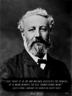 Jules Vern portrait with quote