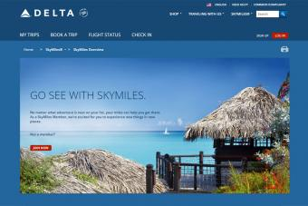 Delta SkyMiles for frequent flyers screenshot
